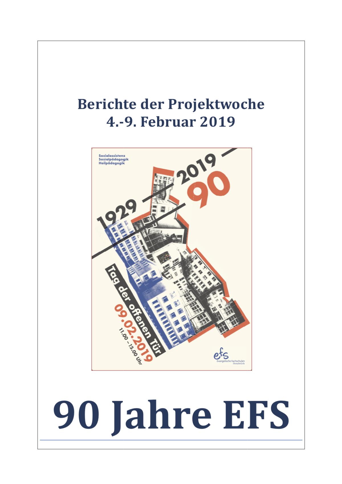"""Dokumentation der Projektwoche """"90 Jahre EFS"""" fertig!"""